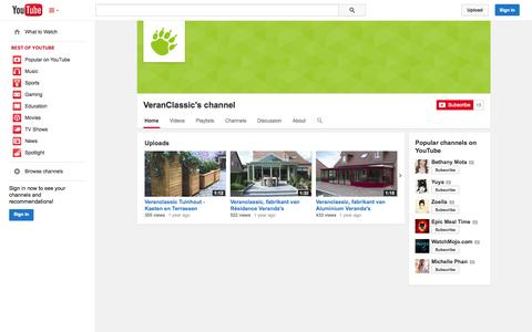 Screenshot of YouTube Page youtube.com - VeranClassic's channel  - YouTube - captured Oct. 25, 2014