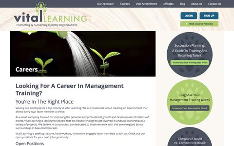 Screenshot of Jobs Page vital-learning.com - Explore Vital Careers To Become A Loyal Team Member - captured Feb. 25, 2016