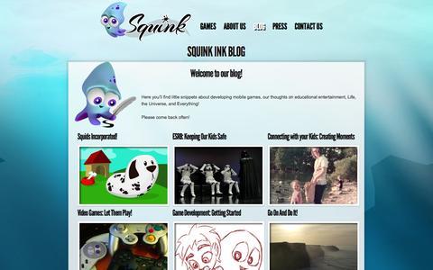 Screenshot of Blog squinkgames.com - Squink Games |   Squink Ink Blog - captured Oct. 26, 2014