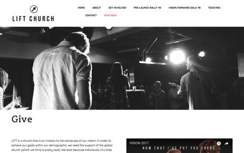 Screenshot of Support Page liftchurch.ca - Give | LIFT Church - Your Church on Campus - Hamilton & St. Catharines - captured July 19, 2018