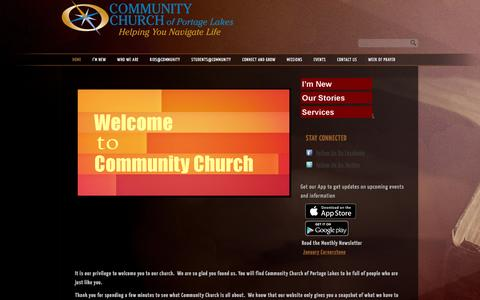 Screenshot of Home Page ccofpl.org - Community Church of Portage Lakes - captured Jan. 30, 2016