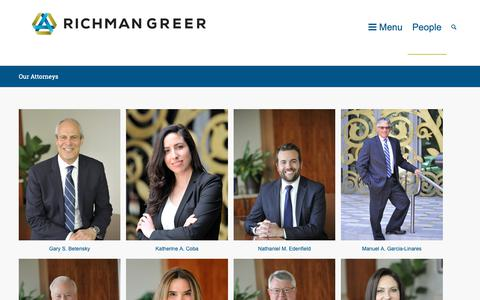 Screenshot of Team Page richmangreer.com - Our Attorneys - Richman Greer - captured Oct. 18, 2018