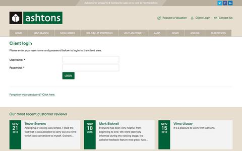 Screenshot of Login Page ashtons.co.uk - Client Login - Ashtons - captured Nov. 21, 2016
