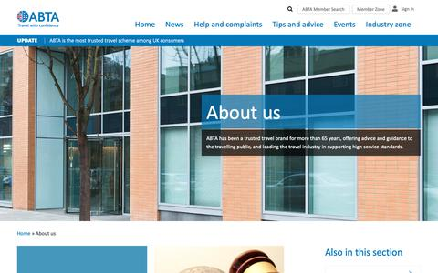Screenshot of About Page abta.com - About us | ABTA - captured Nov. 6, 2018