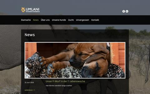 Screenshot of Press Page umlani.ch - News zur Zucht und unseren Ridgebacks - Umlani Rhodesian Ridgeback - captured June 27, 2018
