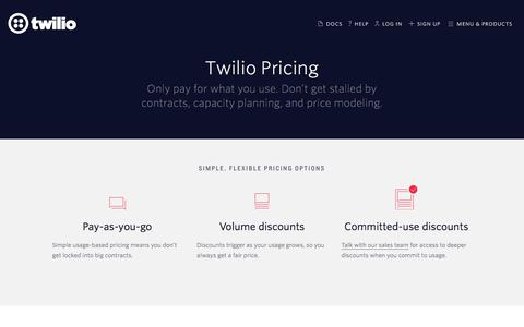 Screenshot of Pricing Page twilio.com - Twilio Pricing - Usage-based pricing, with volume and committed-use discounts - captured Aug. 26, 2017