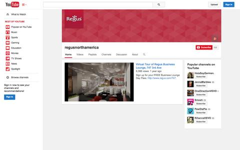 Screenshot of YouTube Page youtube.com - regusnorthamerica  - YouTube - captured Oct. 22, 2014
