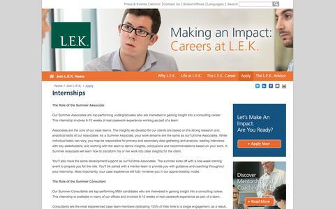 Internships, Summer Internships   L.E.K. Consulting
