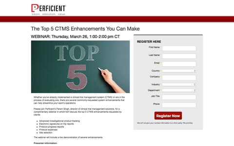Screenshot of Landing Page perficient.com - The Top 5 CTMS Enhancements You Can Make - captured June 20, 2017