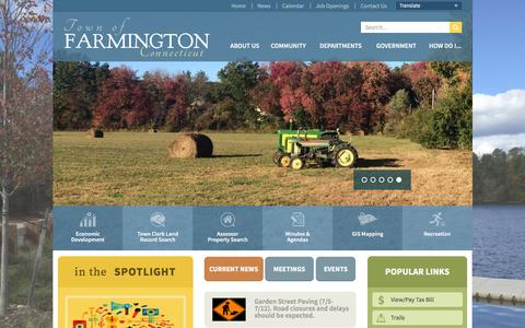 Screenshot of Home Page farmington-ct.org - Town of Farmington, CT : Home - captured June 29, 2016
