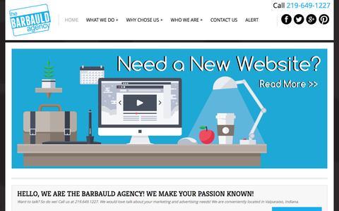 Screenshot of Home Page barbauldagency.com - Advertising agencies - The Barbauld Agency Valparaiso Indiana - captured Dec. 29, 2015