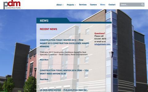 Screenshot of Press Page philadm.com - News Archives   PDM Constructors - captured Nov. 1, 2014