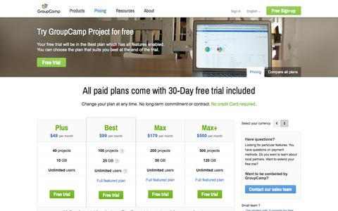 Screenshot of Pricing Page groupcamp.com - Plans and Pricing - Online Project Management | GroupCamp - captured Sept. 24, 2014