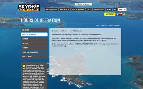 Screenshot of Hours Page skydivebayofislands.com - Hours Of Operation   Skydive Bay of Islands Parachuting Tandem Skydiving Northland NZ - captured March 11, 2016