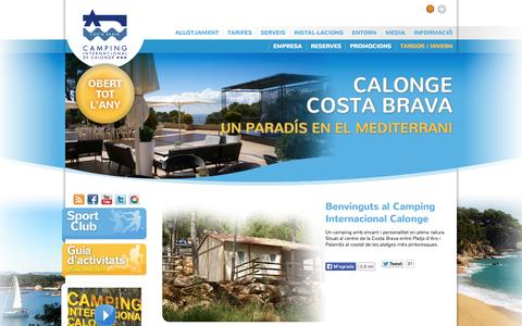 Screenshot of Home Page intercalonge.com - Camping Internacional de Calonge|Camping-Bungalow-Costa brava-Calonge-Girona - captured Oct. 1, 2014