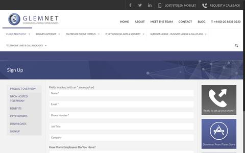 Screenshot of Signup Page glemnet.com - Sign Up | Business Telecoms UK | Business Broadband Providers | Hosted PBX UK - captured Nov. 7, 2016