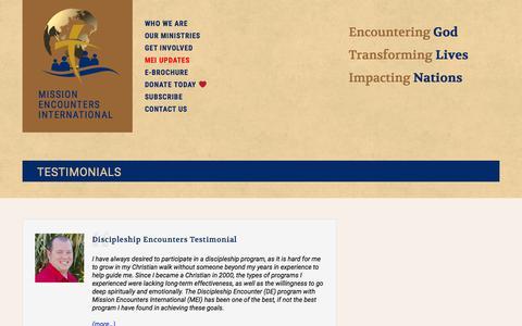 Screenshot of Testimonials Page missionencounters.com - Testimonials  |  Mission Encounters International - captured Oct. 20, 2017
