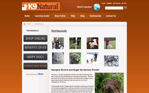 Screenshot of Testimonials Page k9natural.com - K9 Natural Testimonials-K9 Natural - captured Oct. 5, 2014