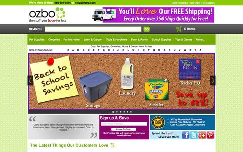 Screenshot of Home Page ozbo.com - Ozbo: Pet Supplies, Groceries, Home & Garden items for less! - captured Sept. 23, 2014