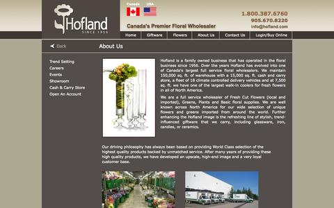 Screenshot of About Page hofland.com - Hofland - Wholesaler of Fresh Cut Flowers, Greens and floral basic supplies - captured Oct. 27, 2014