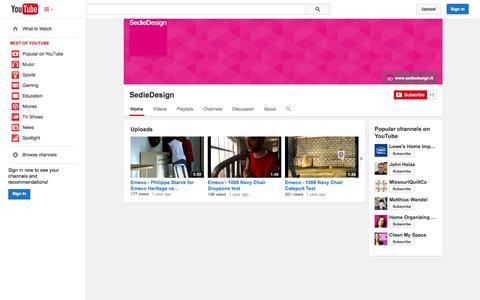 Screenshot of YouTube Page youtube.com - SedieDesign  - YouTube - captured Oct. 25, 2014