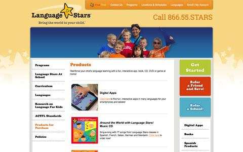 Screenshot of Products Page languagestars.com - Products for Purchase - captured Dec. 7, 2015