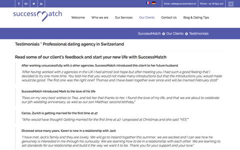 Screenshot of Testimonials Page successmatch.ch - Testimonials * Professional dating agency in Switzerland - captured June 4, 2017
