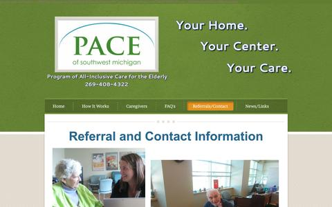 Screenshot of About Page Contact Page paceswmi.org - Referrals/Contact - PACE of Southwest Michigan - captured Jan. 24, 2016