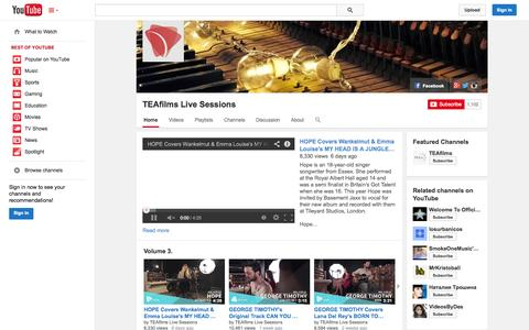 Screenshot of YouTube Page youtube.com - TEAfilms Live Sessions  - YouTube - captured Oct. 25, 2014