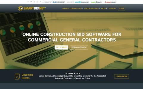 Screenshot of Home Page smartbidnet.com - SmartBidNet Commercial Construction Bidding Software – SmartBidNet - captured Oct. 7, 2015