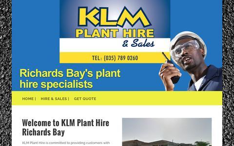 Screenshot of Home Page klmplanthire.co.za - KLM PLANT HIRE RICHARDS BAY - captured Nov. 12, 2016