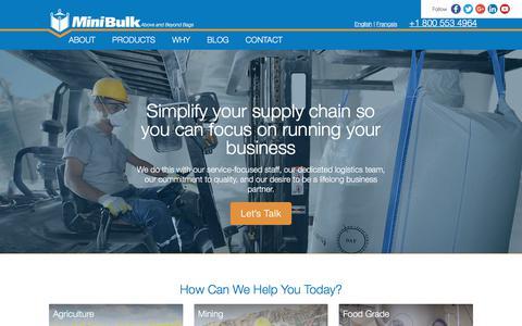 Screenshot of Home Page minibulk.com - FIBC Bulk Bags   MiniBulk Bags - captured Oct. 27, 2017