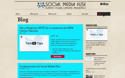 Screenshot of Blog socialmediafuse.com - Social Media Marketing Agency | Blog - captured Nov. 30, 2016