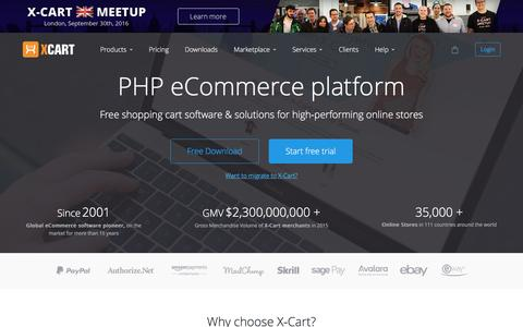 Screenshot of Home Page x-cart.com - Free PHP shopping cart software for e-commerce web-sites - X-Cart - captured Sept. 16, 2016
