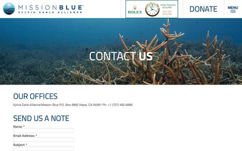 Screenshot of Contact Page mission-blue.org - Contact Us - Mission Blue - captured April 3, 2018