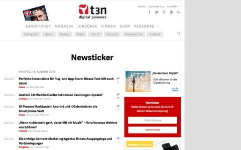Screenshot of Press Page t3n.de - IT-News im Überblick | t3n - captured Aug. 19, 2016