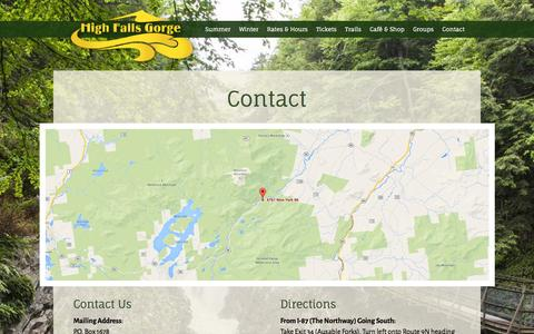 Screenshot of Contact Page highfallsgorge.com - Contact & Directions, Wilmington NY 12997 | High Falls Gorge - captured Oct. 28, 2014
