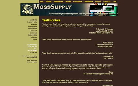 Screenshot of Testimonials Page masssupply.com - Mass Supply - captured Oct. 27, 2014