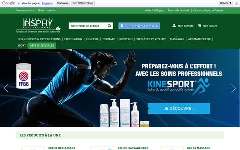 Screenshot of Home Page insphy.com - Crème, gel, huile, baume de massage KinéSanté et KinéSport - LABORATOIRE INSPHY - captured Jan. 22, 2016
