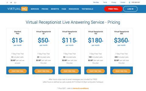 Screenshot of Pricing Page virtualheadquarters.com.au - Virtual HQ - Telephone Answering Service, Virtual Office Receptionist Service | Australia Wide - captured Sept. 21, 2018