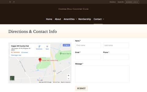 Screenshot of Contact Page Maps & Directions Page copperhillcc.com - Directions & Contact Info - Copper Hill Country Club - captured July 2, 2018