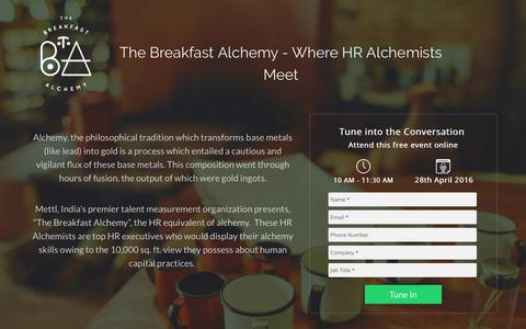 Screenshot of Landing Page mettl.com - The Breakfast Alchemy - captured July 3, 2017