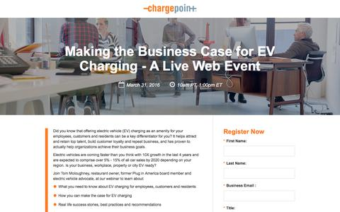 Screenshot of Landing Page chargepoint.com - Making the Business Case for EV Charging - A Live Web Event - captured Sept. 19, 2018
