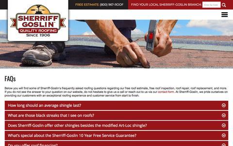 Screenshot of FAQ Page sherriffgoslin.com - Sherriff-Goslin l FAQs - captured Nov. 16, 2017