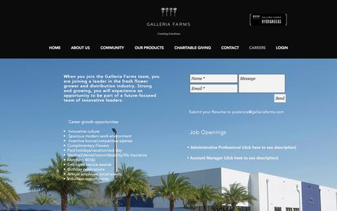 Screenshot of Jobs Page galleriafarms.com - CONTACT - captured July 15, 2018
