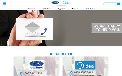 Screenshot of Support Page carriermideaindia.com - Carrier Midea India Customer Care Number | Carrier Midea Customer Helpline ID - captured July 16, 2018