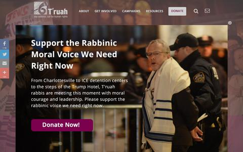 Screenshot of Home Page truah.org - T'ruah | T'ruah - captured Oct. 25, 2017