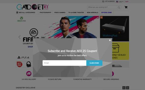 Screenshot of Home Page gadgetby.com - Best Online Shopping Sites in UAE for Electronics | Dubai Shop Online | Gadgetby.com - captured Oct. 25, 2018