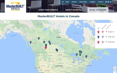 Screenshot of Locations Page masterbuilthotels.com - MasterBUILT Hotels | Canadian Locations - captured Aug. 10, 2016