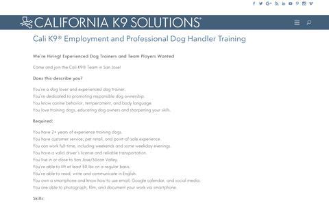 Screenshot of Jobs Page calik9.com - Dog Trainers - Apprenticeships - Cali K9® Training Method - San Jose - captured July 11, 2017